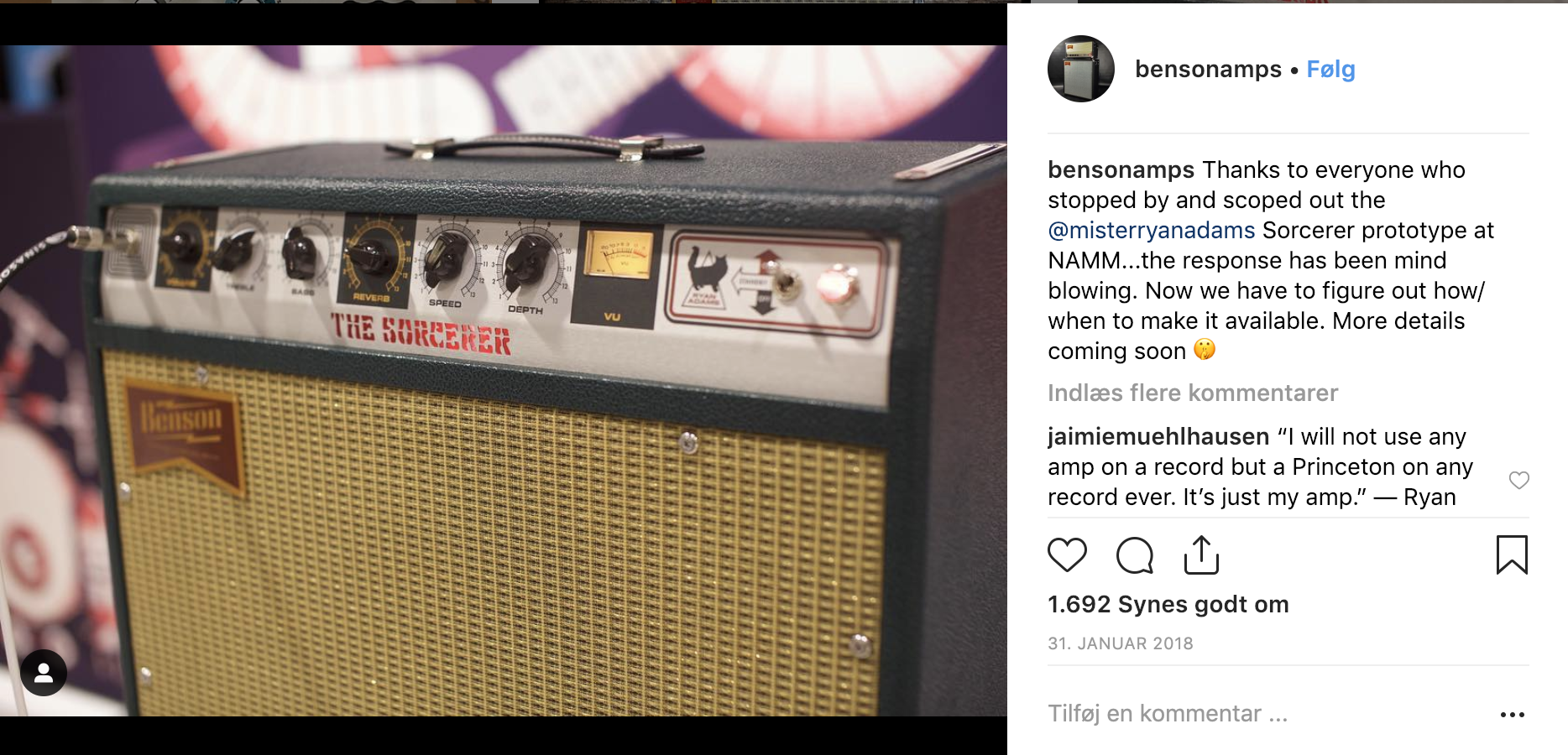 The Ryan Adams signature amp, Sorcerer, at NAMM2018