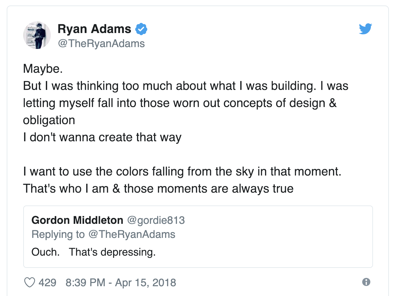 Ryan Adams first tweets about the album Big Colors