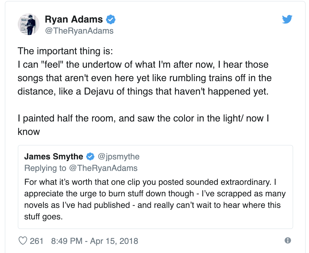 Ryan Adams second tweet about the album Big Colors