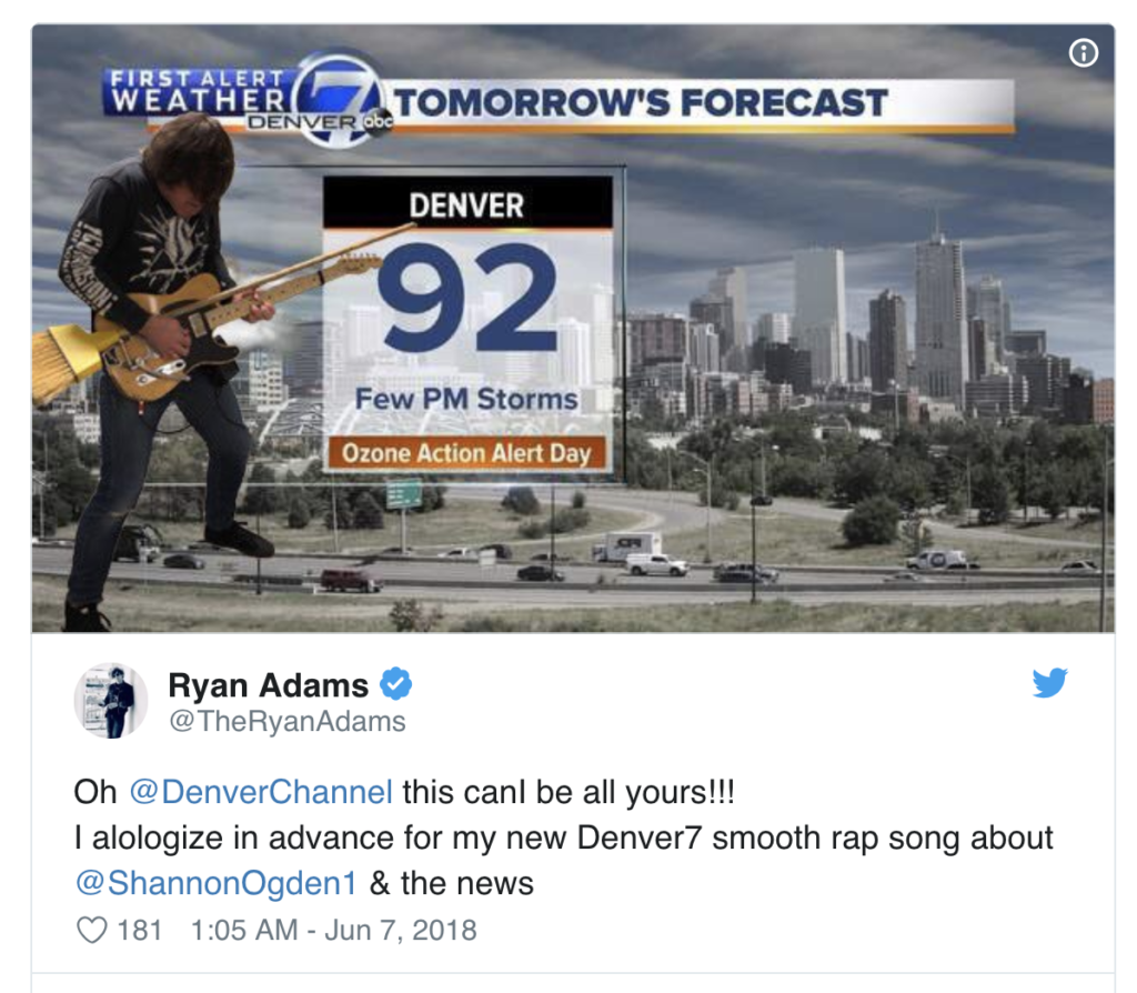 Ryan Adams acts as weatherman for Denver news station
